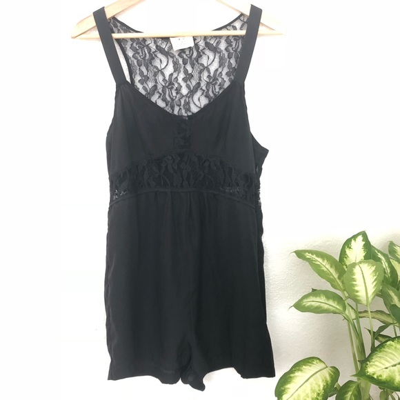 3a0feed4b4a2 Urban Outfitters Pants - Pins   Needles Black Romper Lace Cutouts
